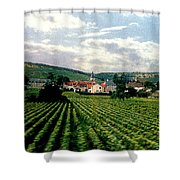 Village In The Vineyards Of France Shower Curtain
