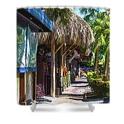 Village Life II - Siesta Key Shower Curtain