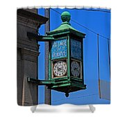 Village Of Elmore Clock-vertical Shower Curtain
