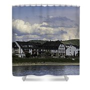 Village Of Spay And Marksburg Castle Shower Curtain