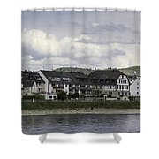 Village Of Spay Germany And Marksburg Castle Shower Curtain