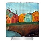 Village On The Coast Shower Curtain