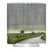 Village Road In The Twilight  Shower Curtain