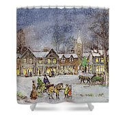 Village Street In The Snow Shower Curtain by Stanley Cooke