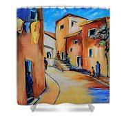 Village Street In Tuscany Shower Curtain