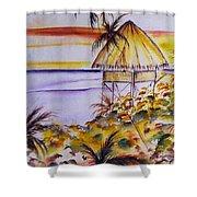 Village Sunset  Shower Curtain