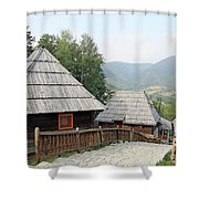Village With Wooden Cabin Log On Mountain Shower Curtain