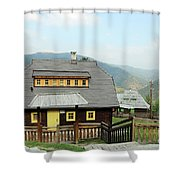 Village With Wooden Houses On Mountain Shower Curtain