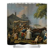 Villagers Preparing To Depart For The Festival Shower Curtain