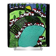 Villlage By The Pond Shower Curtain