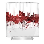 Vilnius Skyline In Green Watercolor On  White Background Shower Curtain