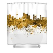 Vilnius Skyline In Orange Watercolor On  White Background Shower Curtain