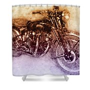 Vincent Black Shadow 2 - Standard Motorcycle - 1948 - Motorcycle Poster - Automotive Art Shower Curtain