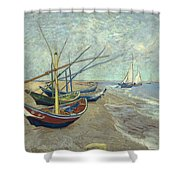 Vincent Van Gogh  Fishing Boats On The Beach At Les Saintes Maries De La Mer Shower Curtain