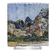 Vincent Van Gogh  Mountains At Saint Remy Shower Curtain