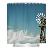 Vines Growing Up A Windmill In Canada Shower Curtain by Bryan Mullennix