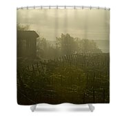 Vineyards Beside A Villa In The Fog Shower Curtain