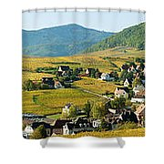 Vineyards In Autumn In The Morning Shower Curtain