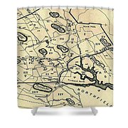 Vintage 1692 Map Of Salem Massachusetts - 1866 Shower Curtain