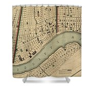 Vintage 1840s Map Of New Orleans Shower Curtain