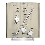 Vintage 1910 Golf Club Patent In Sepia Shower Curtain