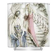 Vintage 1920s Fashion Plate  Evening Dresses Shower Curtain