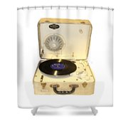 Vintage 1950s Record Player And Vinyl Record Shower Curtain