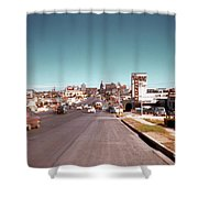 Vintage 1950s View Of Congress Avenue Looking North From South Congress To The Capitol Shower Curtain