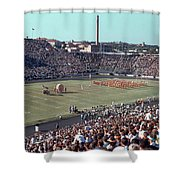 Vintage 1955 Photo Of Us Military Color Guard With Big Bertha Dr Shower Curtain