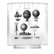Vintage Aeronautics - Early Balloon Designs Shower Curtain
