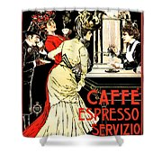 Vintage Antique Italian Coffeehouse Advertising Shower Curtain