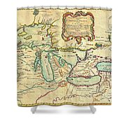 Vintage Antique Map Of The Great Lakes Shower Curtain