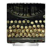 Vintage Antique Typewriter - Text Me - Antique Typewriter Keys Print Black And Gold Shower Curtain