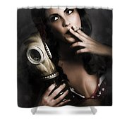 Vintage Army Pinup Girl Holding Gas Mask Shower Curtain