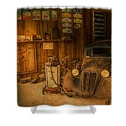 Vintage Auto Repair Garage With Truck And Signs Shower Curtain