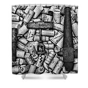Vintage Barrel Taps And Cork Screw Black And White Shower Curtain