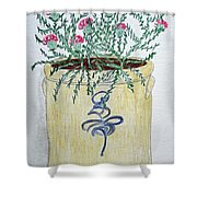 Vintage Bee Sting Crock And Thistles Shower Curtain
