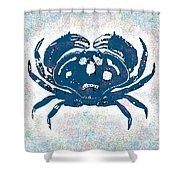 Vintage Blue Crab Shower Curtain