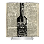 Vintage Bottle Of Rum Over Antique Book Page Shower Curtain