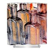 Vintage Bottles At A Flea Market Neg Shower Curtain