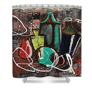 Vintage Bottles  Shower Curtain