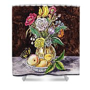 Vintage Bouquet With Fruits And Butterfly  Shower Curtain
