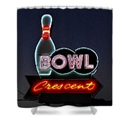Vintage Bowling Neon Sign Shower Curtain