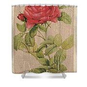 Vintage Burlap Floral Shower Curtain