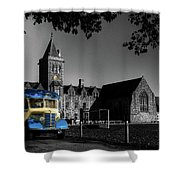 Vintage Bus At Taunton School Shower Curtain