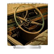 Vintage Cadillac Steering Wheel And Interior Shower Curtain