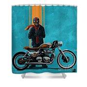 Vintage Cafe Racer  Shower Curtain