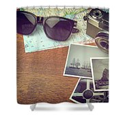 Vintage Camera And Map Shower Curtain