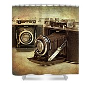 Vintage Cameras Shower Curtain by Meirion Matthias