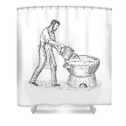Vintage Candlemaker Foundry Drawing Shower Curtain